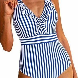 Cupshe Blue/White Striped Ruffled One Piece L NWOT